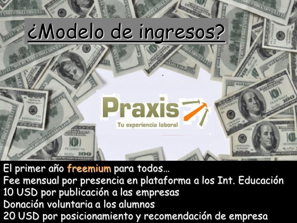 ¿Modelo de ingresos? El primer año freemium para todos… Fee mensual por presencia en plataforma a los Int. Educación 10 USD por publicación a las empr