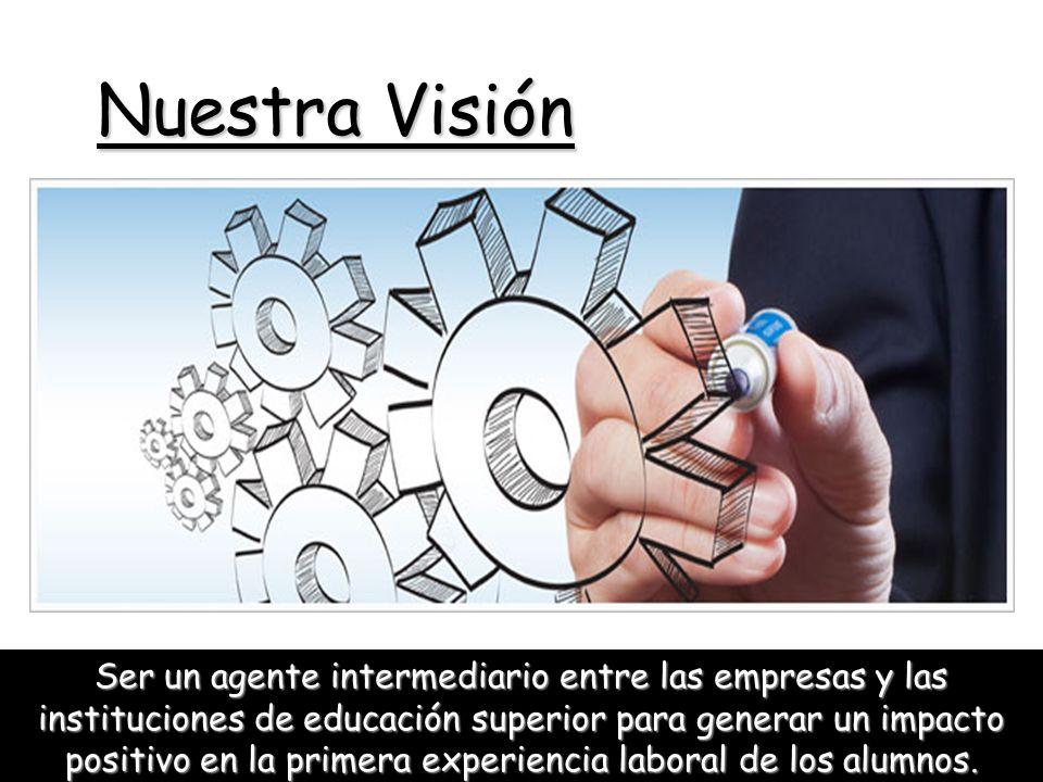 Nuestra Visión Ser un agente intermediario entre las empresas y las instituciones de educación superior para generar un impacto positivo en la primera