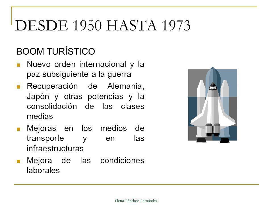 DESDE 1950 HASTA 1973 BOOM TURÍSTICO Nuevo orden internacional y la paz subsiguiente a la guerra Recuperación de Alemania, Japón y otras potencias y l