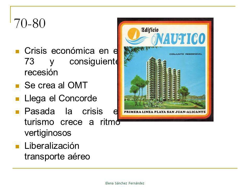 70-80 Crisis económica en el 73 y consiguiente recesión Se crea al OMT Llega el Concorde Pasada la crisis el turismo crece a ritmo vertiginosos Libera