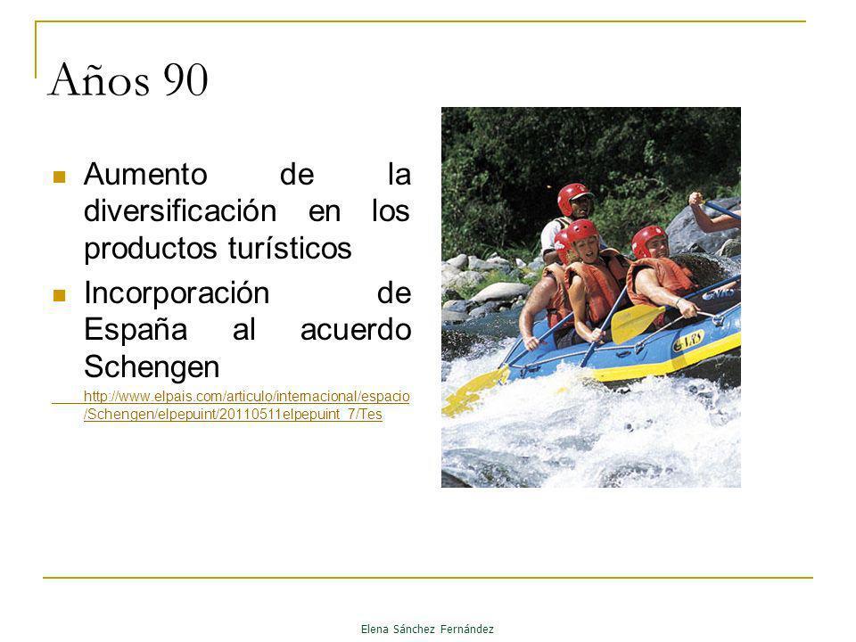 Años 90 Aumento de la diversificación en los productos turísticos Incorporación de España al acuerdo Schengen http://www.elpais.com/articulo/internaci