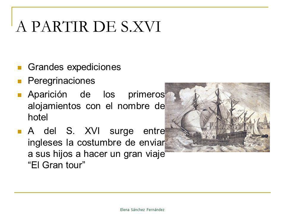 A PARTIR DE S.XVI Grandes expediciones Peregrinaciones Aparición de los primeros alojamientos con el nombre de hotel A del S. XVI surge entre ingleses