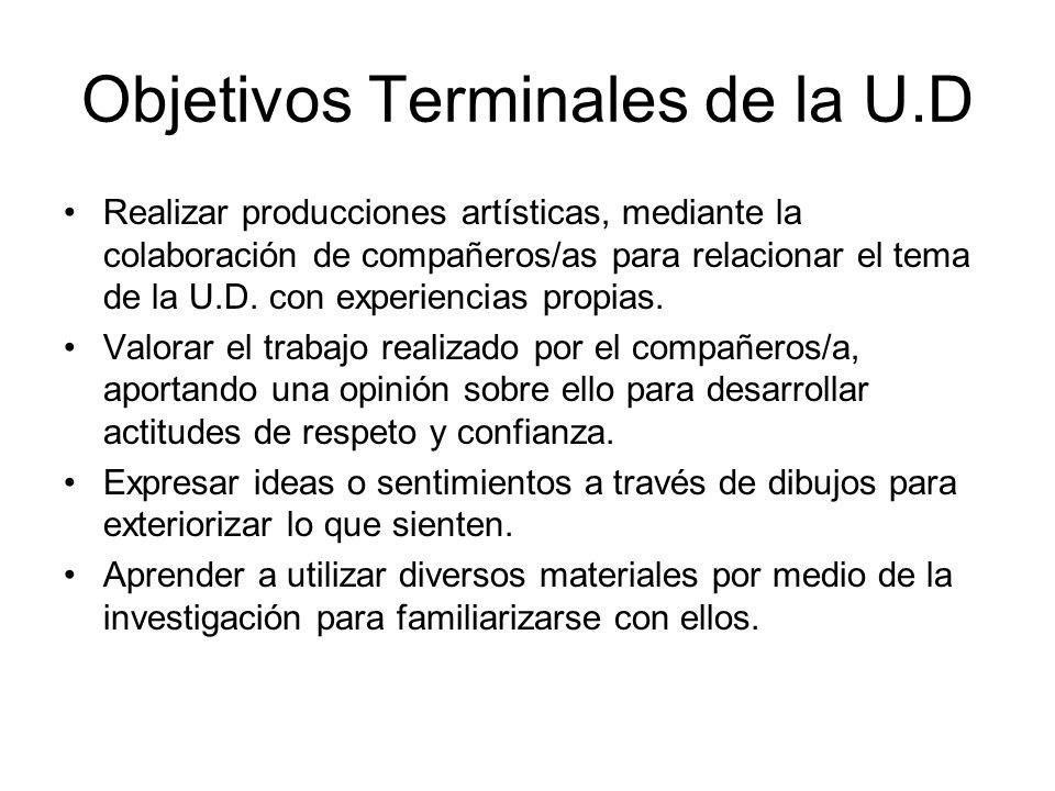 Objetivos Terminales de la U.D Realizar producciones artísticas, mediante la colaboración de compañeros/as para relacionar el tema de la U.D. con expe