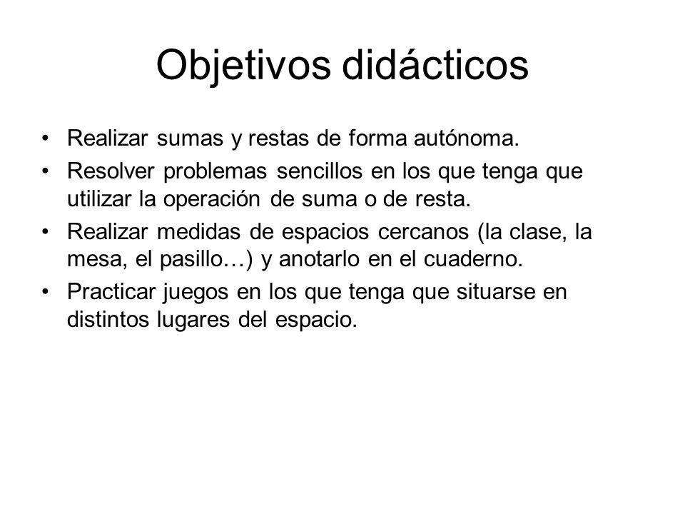 Objetivos didácticos Realizar sumas y restas de forma autónoma. Resolver problemas sencillos en los que tenga que utilizar la operación de suma o de r