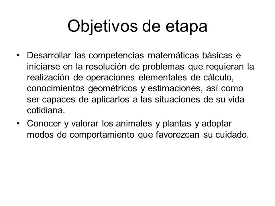 Objetivos de etapa Desarrollar las competencias matemáticas básicas e iniciarse en la resolución de problemas que requieran la realización de operacio