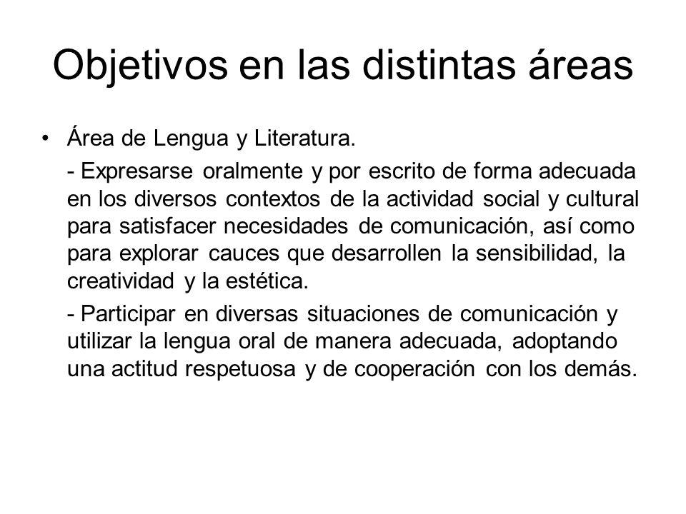 Objetivos en las distintas áreas Área de Lengua y Literatura. - Expresarse oralmente y por escrito de forma adecuada en los diversos contextos de la a
