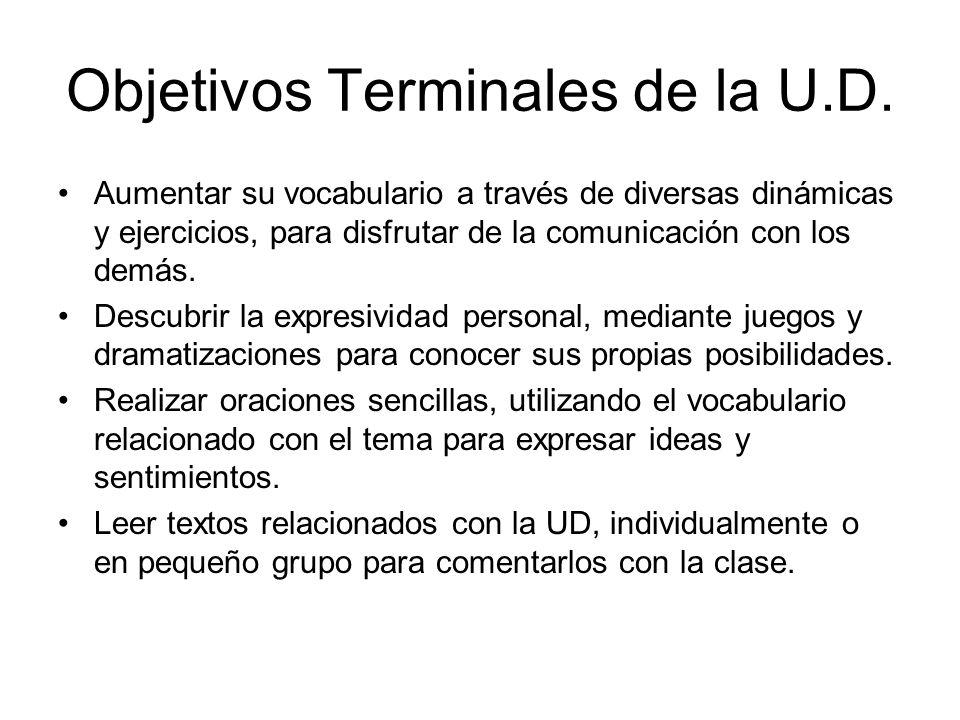 Objetivos Terminales de la U.D. Aumentar su vocabulario a través de diversas dinámicas y ejercicios, para disfrutar de la comunicación con los demás.