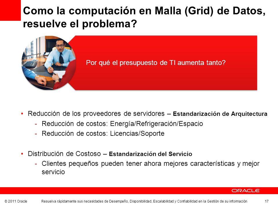 © 2011 Oracle Resuelva rápidamente sus necesidades de Desempeño, Disponibilidad, Escalabilidad y Confiabilidad en la Gestión de su información 17 Como