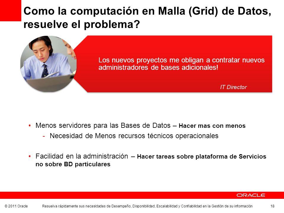 © 2011 Oracle Resuelva rápidamente sus necesidades de Desempeño, Disponibilidad, Escalabilidad y Confiabilidad en la Gestión de su información 18 Como