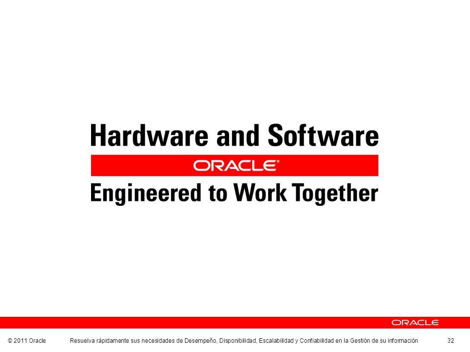© 2011 Oracle Resuelva rápidamente sus necesidades de Desempeño, Disponibilidad, Escalabilidad y Confiabilidad en la Gestión de su información 32