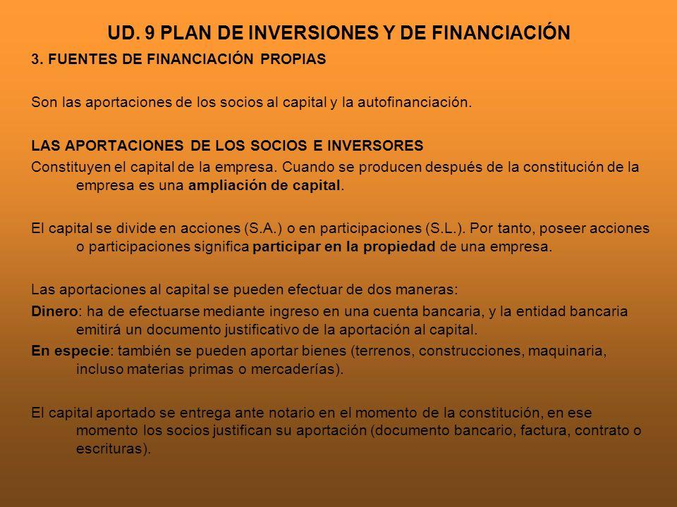 UD. 9 PLAN DE INVERSIONES Y DE FINANCIACIÓN 3. FUENTES DE FINANCIACIÓN PROPIAS Son las aportaciones de los socios al capital y la autofinanciación. LA