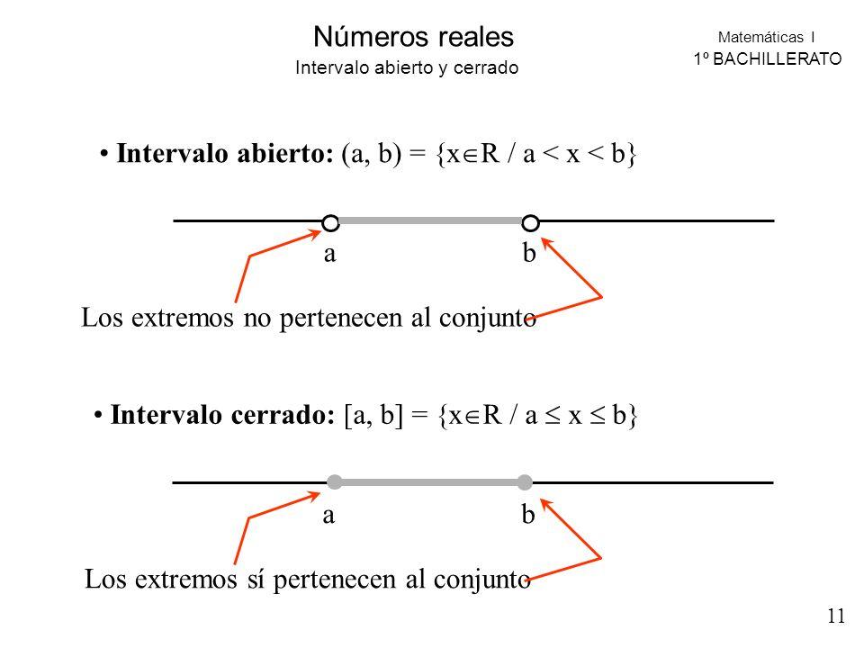 Matemáticas I 1º BACHILLERATO Números reales Intervalo abierto y cerrado Intervalo abierto: (a, b) = {x R / a < x < b} ab Los extremos no pertenecen a
