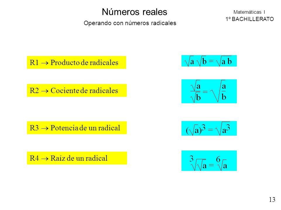 Matemáticas I 1º BACHILLERATO Números reales R1 Producto de radicales R2 Cociente de radicales R3 Potencia de un radical R4 Raíz de un radical Operand