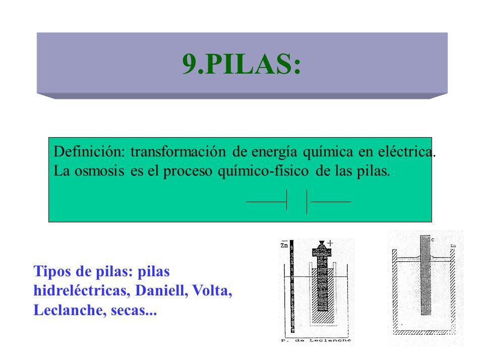 9.PILAS: Definición: transformación de energía química en eléctrica. La osmosis es el proceso químico-físico de las pilas. Tipos de pilas: pilas hidre