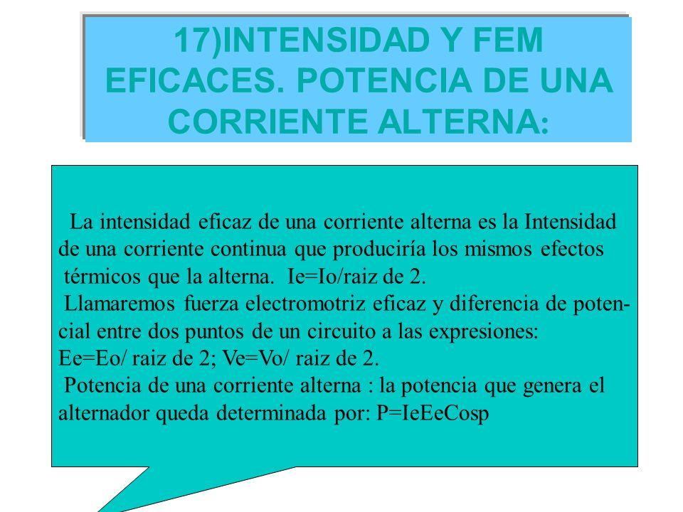 17)INTENSIDAD Y FEM EFICACES. POTENCIA DE UNA CORRIENTE ALTERNA : La intensidad eficaz de una corriente alterna es la Intensidad de una corriente cont