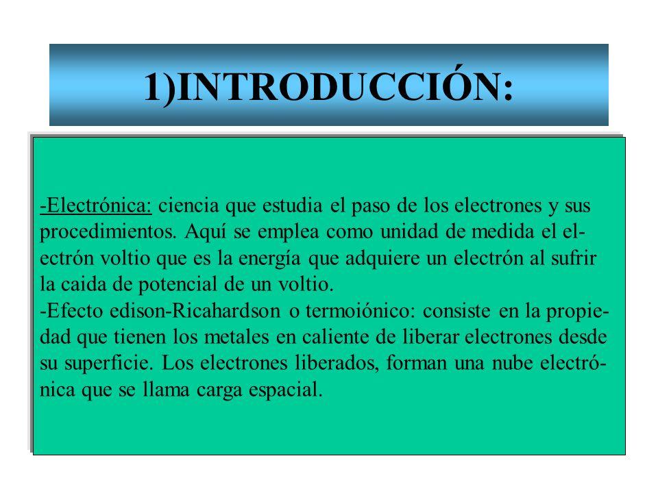 1)INTRODUCCIÓN: -Electrónica: ciencia que estudia el paso de los electrones y sus procedimientos. Aquí se emplea como unidad de medida el el- ectrón v