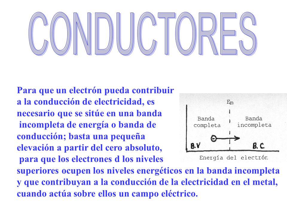Para que un electrón pueda contribuir a la conducción de electricidad, es necesario que se sitúe en una banda incompleta de energía o banda de conducc