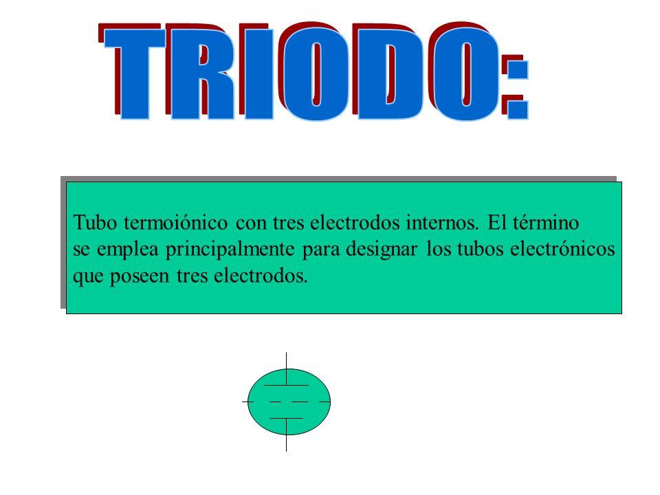 Tubo termoiónico con tres electrodos internos. El término se emplea principalmente para designar los tubos electrónicos que poseen tres electrodos. Tu