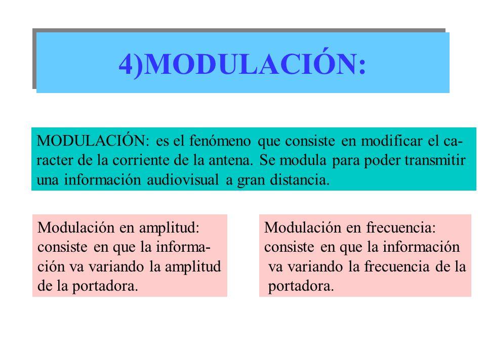 4)MODULACIÓN: MODULACIÓN: es el fenómeno que consiste en modificar el ca- racter de la corriente de la antena. Se modula para poder transmitir una inf