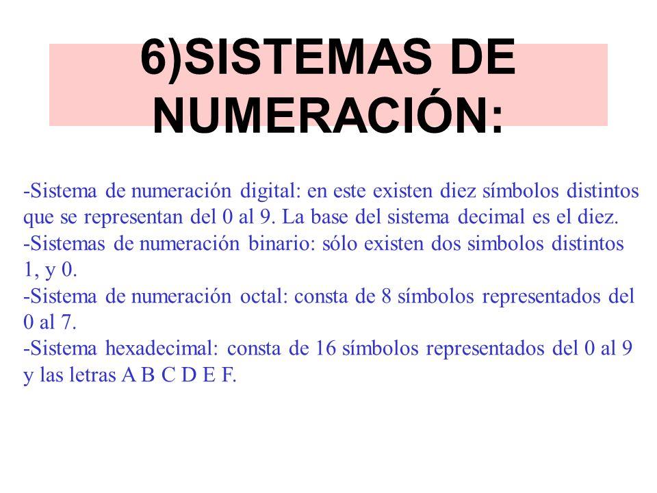 6)SISTEMAS DE NUMERACIÓN: -Sistema de numeración digital: en este existen diez símbolos distintos que se representan del 0 al 9. La base del sistema d
