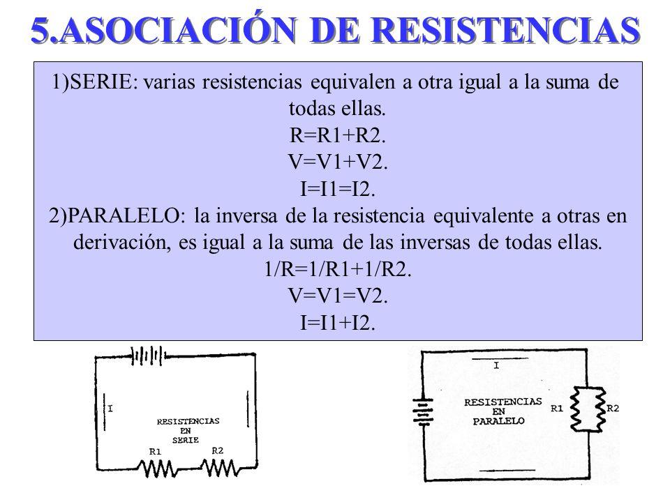 5.ASOCIACIÓN DE RESISTENCIAS 1)SERIE: varias resistencias equivalen a otra igual a la suma de todas ellas. R=R1+R2. V=V1+V2. I=I1=I2. 2)PARALELO: la i