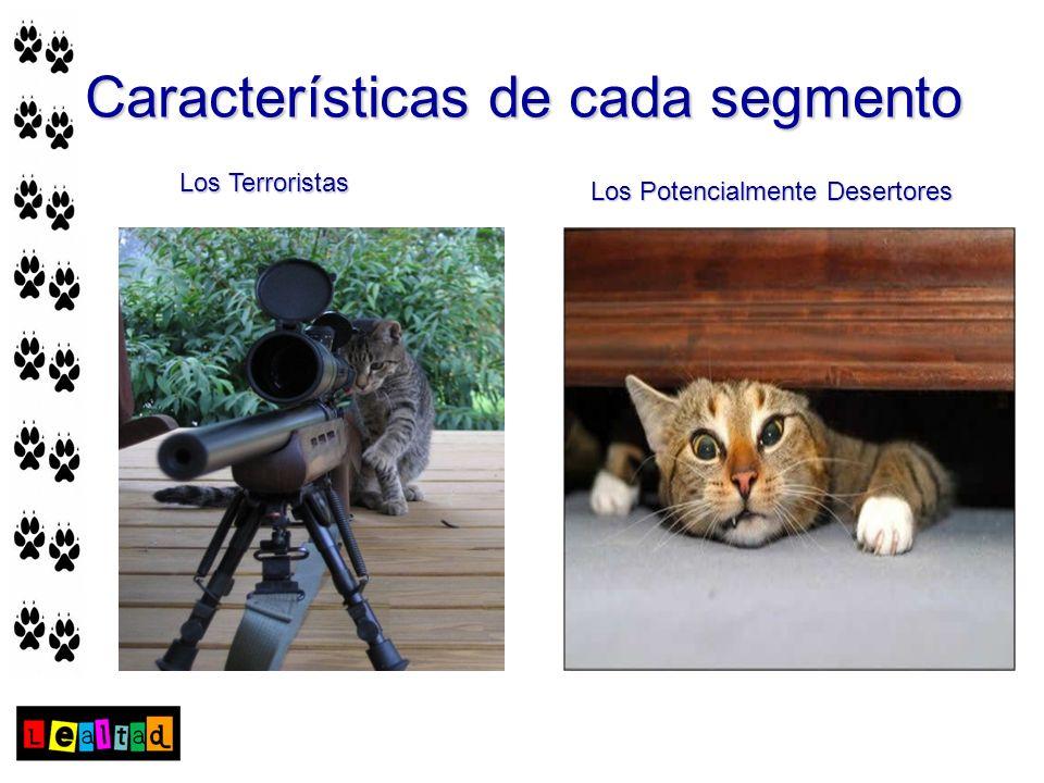 Características de cada segmento Los Terroristas Los Potencialmente Desertores
