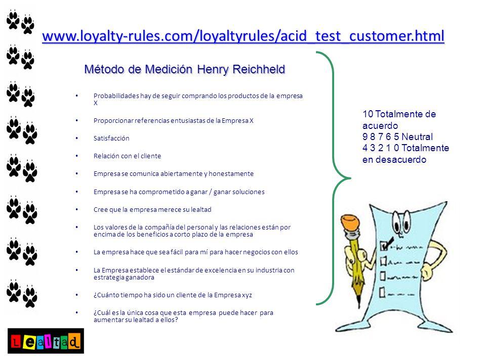 www.loyalty-rules.com/loyaltyrules/acid_test_customer.html Probabilidades hay de seguir comprando los productos de la empresa X Proporcionar referenci
