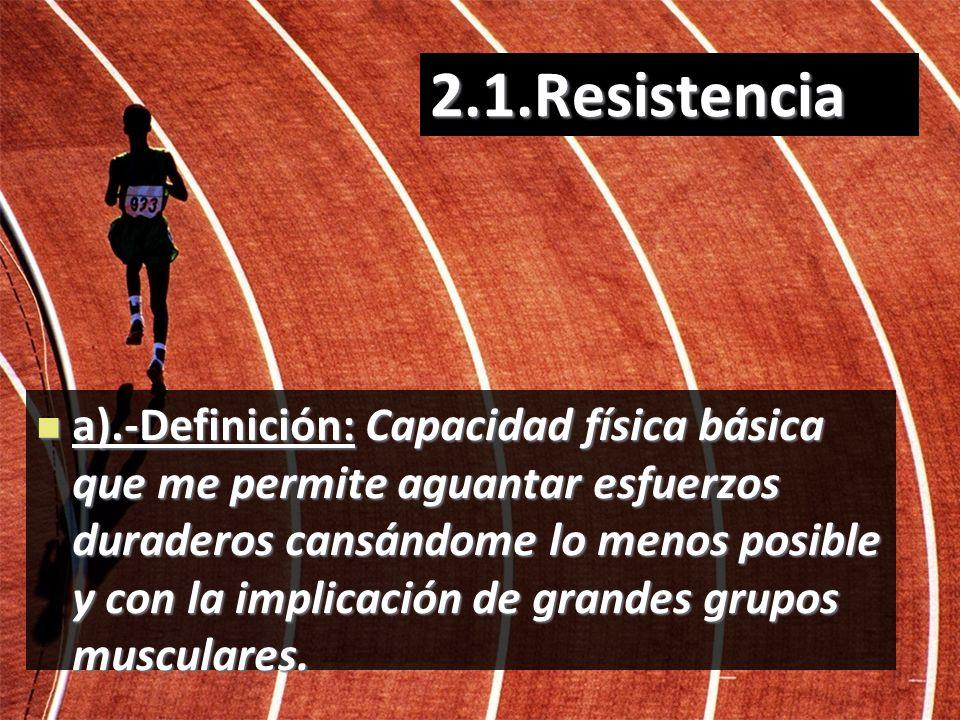 2.1.Resistencia a).-Definición: Capacidad física básica que me permite aguantar esfuerzos duraderos cansándome lo menos posible y con la implicación d