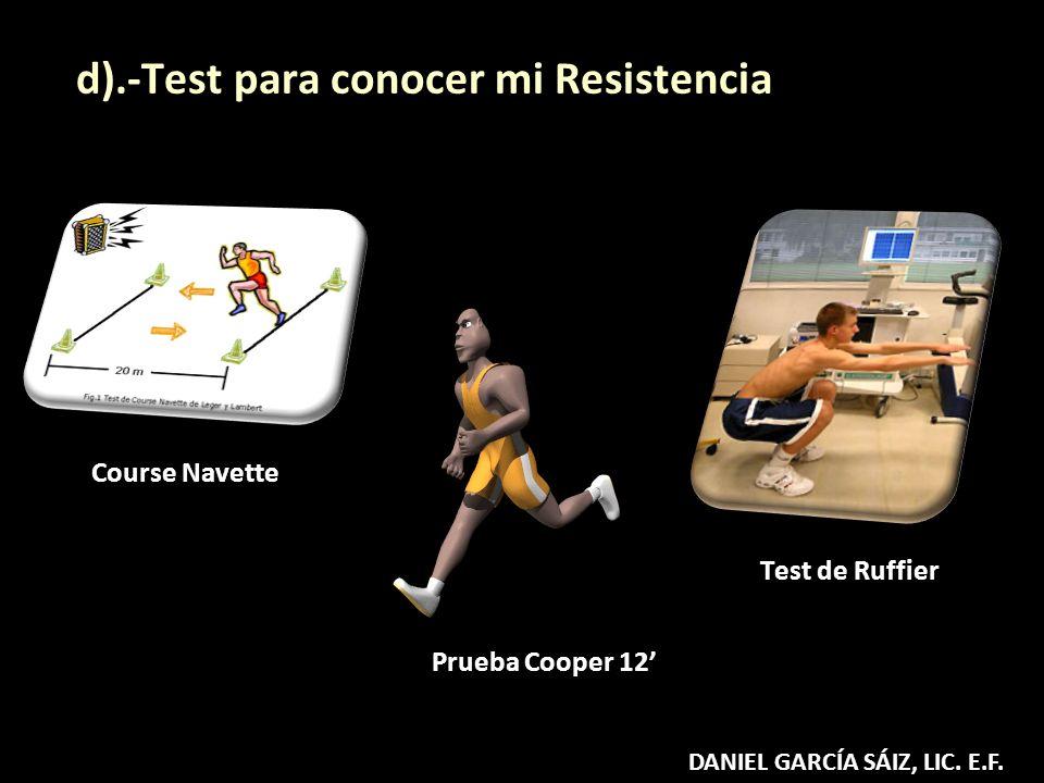 Prueba Cooper 12 d).-Test para conocer mi Resistencia Test de Ruffier Course Navette DANIEL GARCÍA SÁIZ, LIC. E.F.