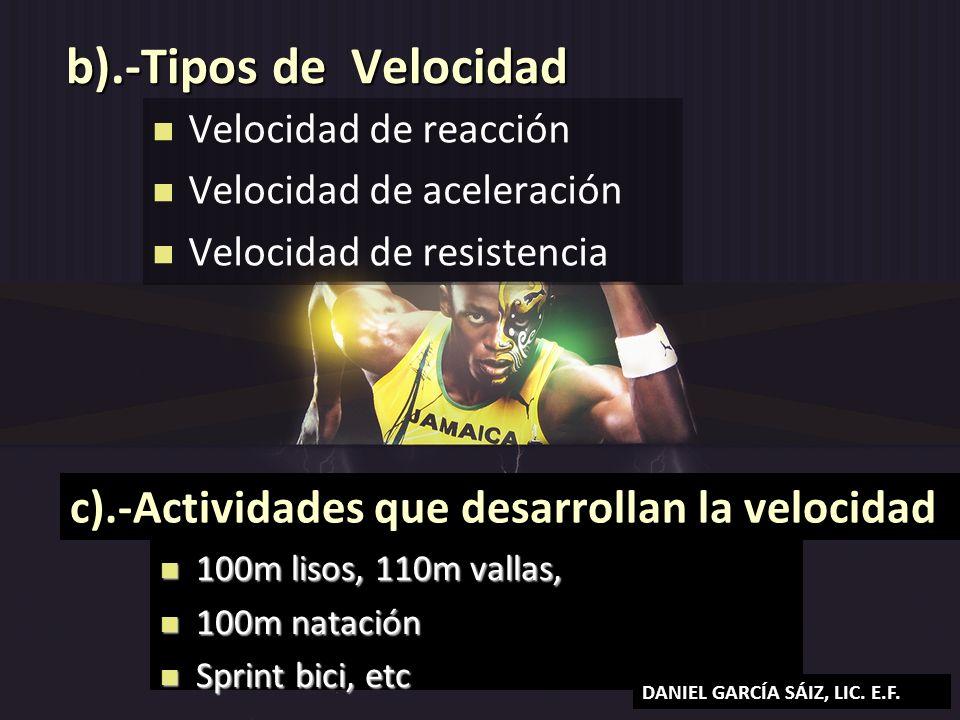 b).-Tipos de Velocidad Velocidad de reacción Velocidad de aceleración Velocidad de resistencia c).-Actividades que desarrollan la velocidad 100m lisos