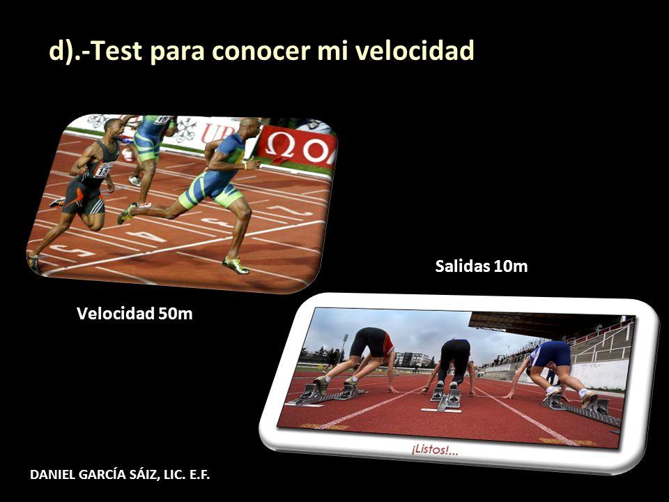 Velocidad 50m d).-Test para conocer mi velocidad Salidas 10m DANIEL GARCÍA SÁIZ, LIC. E.F.