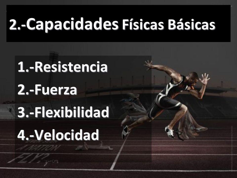 2.- Capacidades Físicas Básicas 1.-Resistencia2.-Fuerza3.-Flexibilidad4.-Velocidad