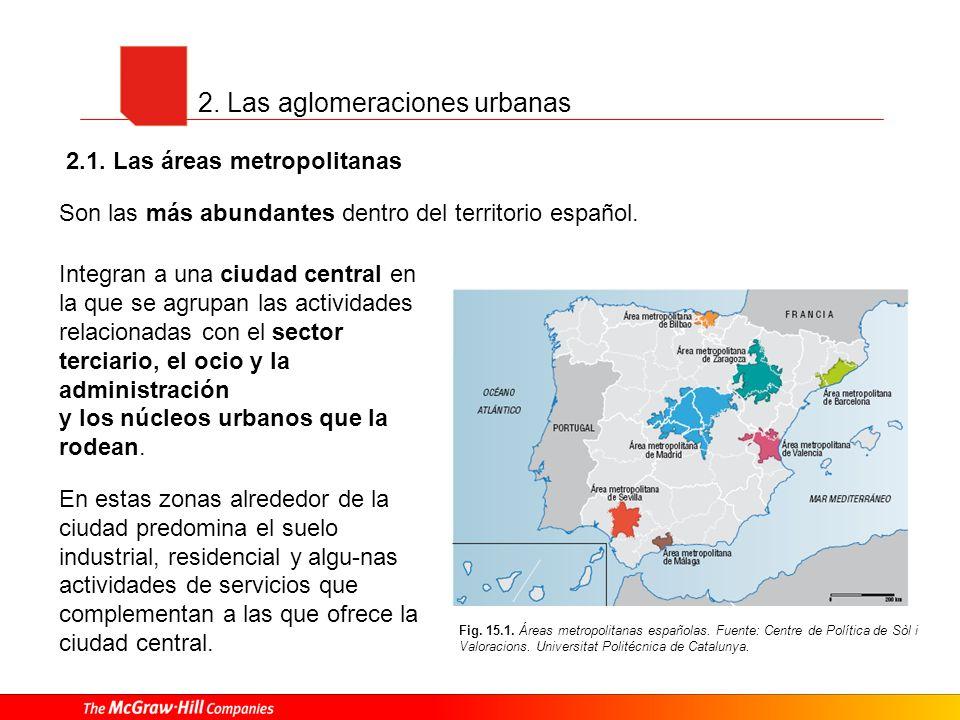 2. Las aglomeraciones urbanas Fig. 15.1. Áreas metropolitanas españolas. Fuente: Centre de Política de Sòl i Valoracions. Universitat Politécnica de C