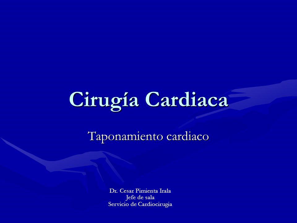 Taponamiento cardiaco Fisiopatología La presión del espacio pericárdico es semejante a la AD.