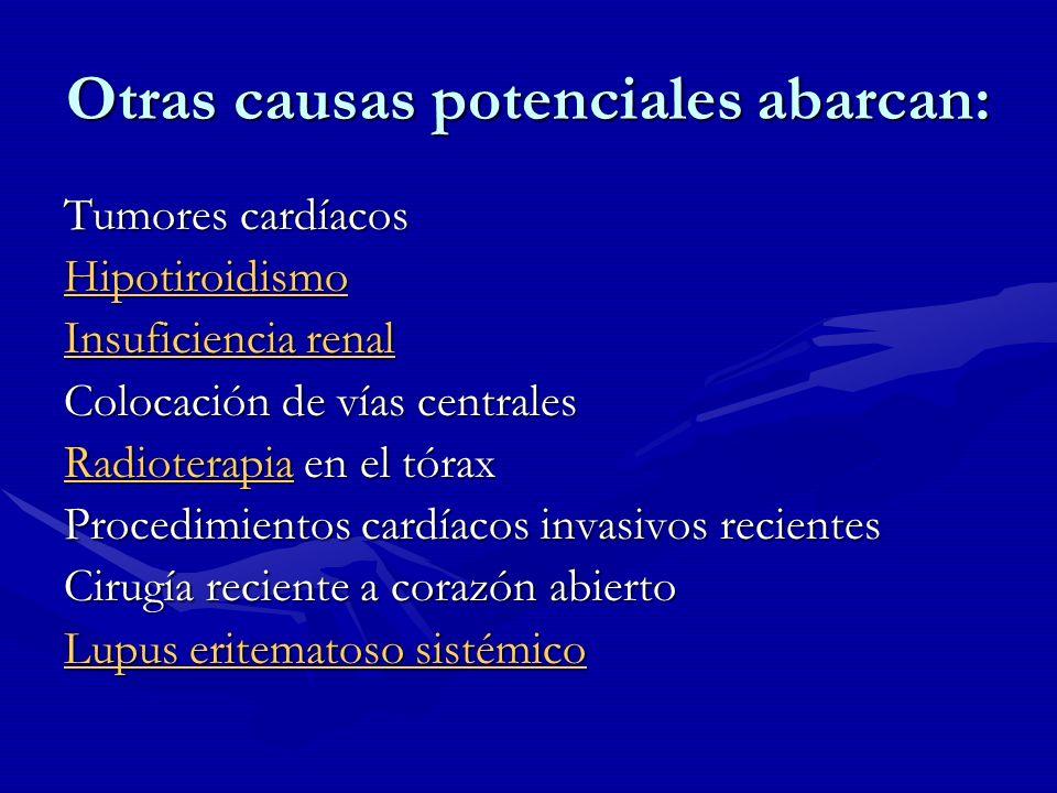 Otras causas potenciales abarcan: Tumores cardíacos Hipotiroidismo Insuficiencia renal Insuficiencia renal Colocación de vías centrales RadioterapiaRa