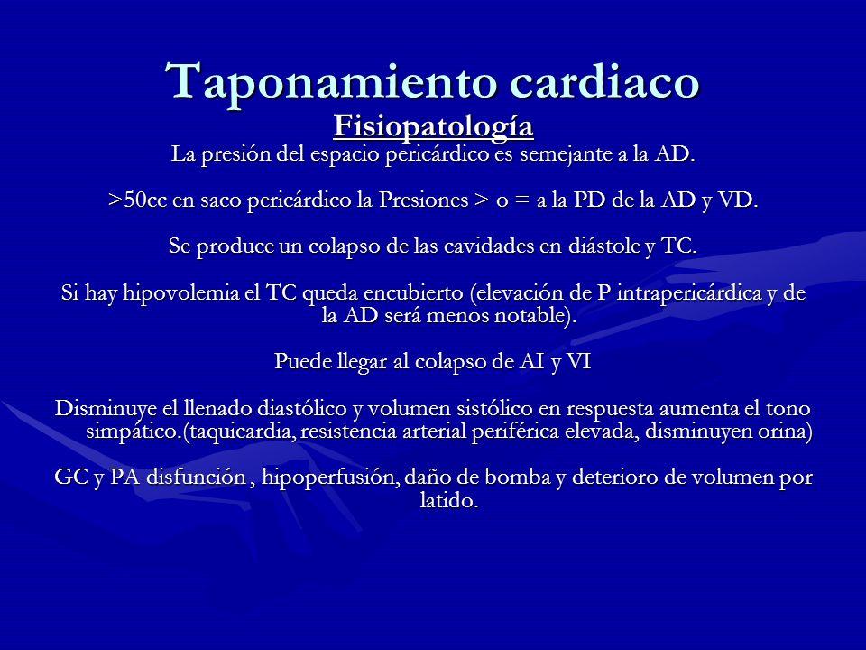 Taponamiento cardiaco Fisiopatología La presión del espacio pericárdico es semejante a la AD. >50cc en saco pericárdico la Presiones > o = a la PD de