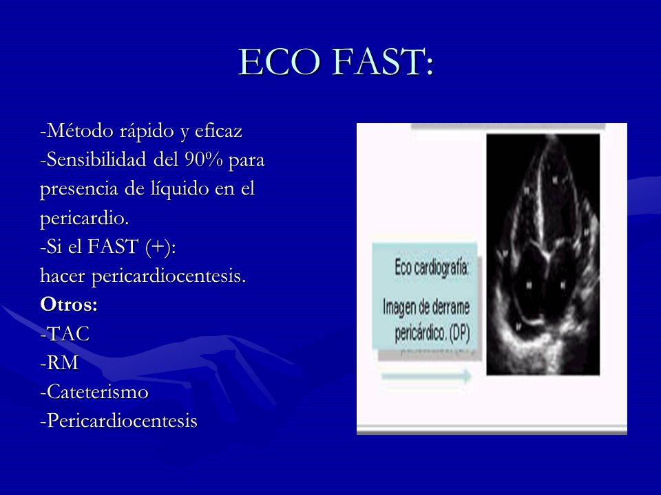 ECO FAST: ECO FAST: -Método rápido y eficaz -Sensibilidad del 90% para presencia de líquido en el pericardio. -Si el FAST (+): hacer pericardiocentesi
