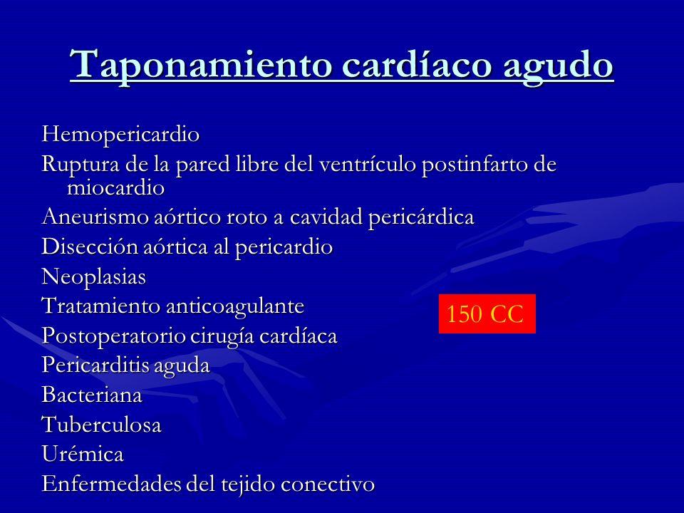 Taponamiento cardíaco crónico Causas infecciosas Tuberculosis Algunas parasitosis Causa no infecciosa UrémicoNeoplásicoMixedematosoPostirradiación Síndrome de Dressler Síndrome postpericardiectomía Quilopericardio 1000 cc