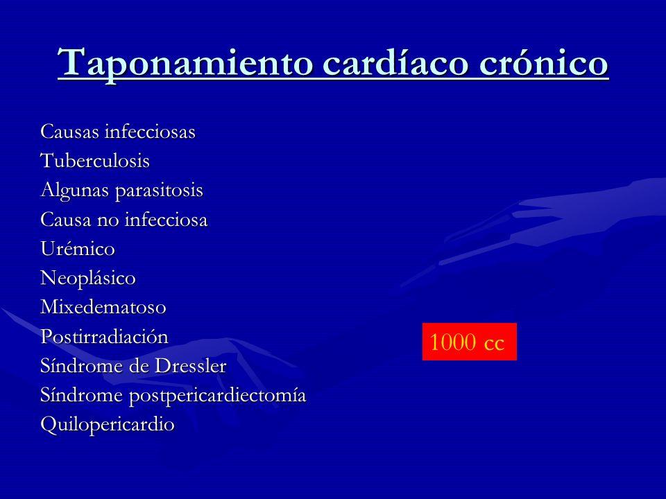 Taponamiento cardíaco crónico Causas infecciosas Tuberculosis Algunas parasitosis Causa no infecciosa UrémicoNeoplásicoMixedematosoPostirradiación Sín