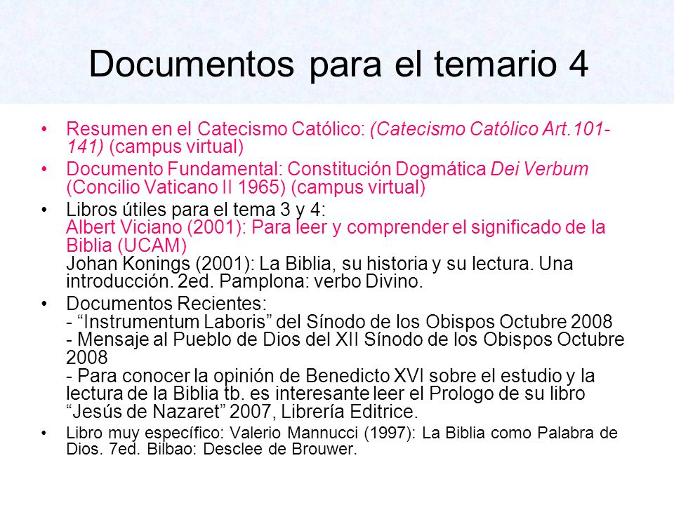 Documentos para el temario 4 Resumen en el Catecismo Católico: (Catecismo Católico Art.101- 141) (campus virtual) Documento Fundamental: Constitución