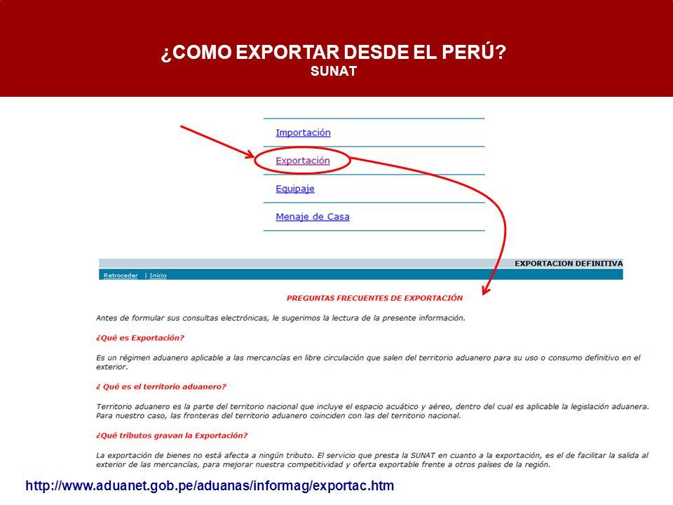 http://www.aduanet.gob.pe/aduanas/informag/exportac.htm ¿COMO EXPORTAR DESDE EL PERÚ? SUNAT