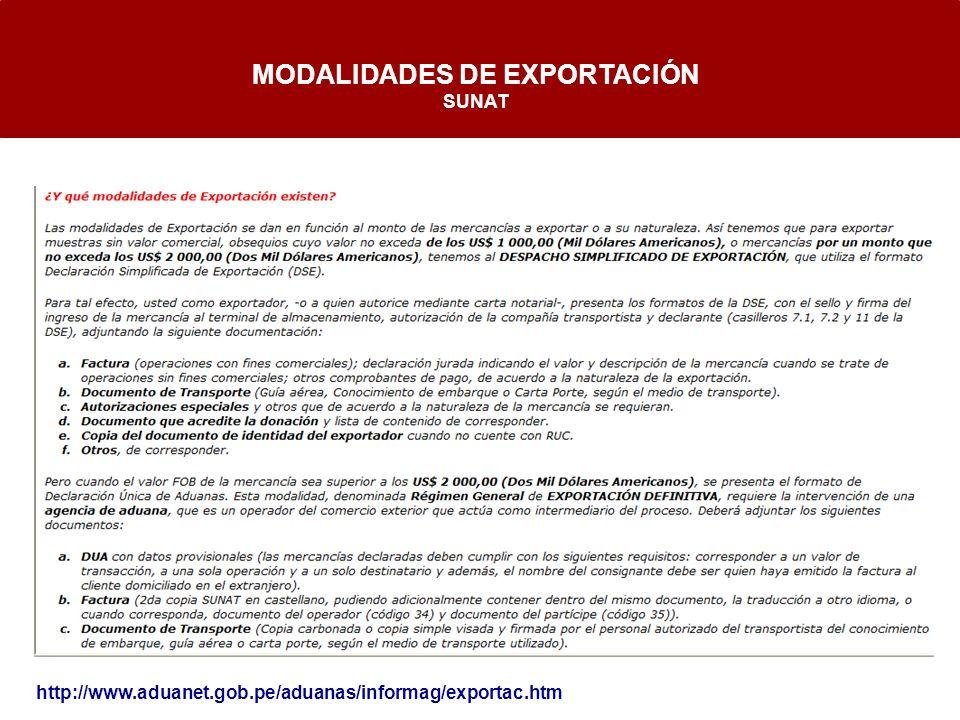 MODALIDADES DE EXPORTACIÓN SUNAT http://www.aduanet.gob.pe/aduanas/informag/exportac.htm