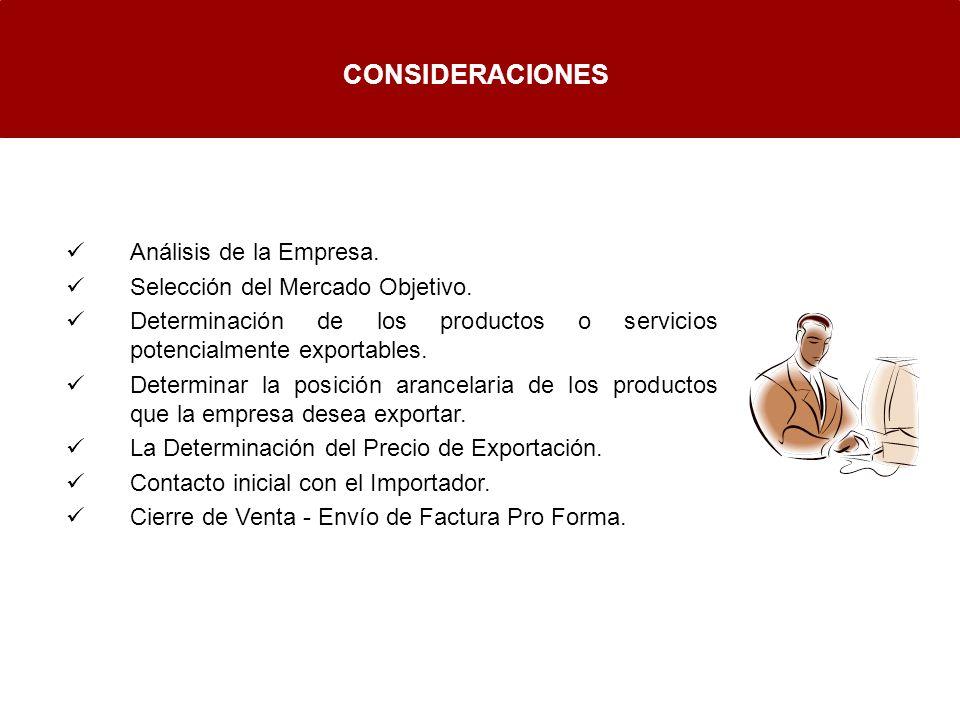 CONSIDERACIONES Análisis de la Empresa. Selección del Mercado Objetivo. Determinación de los productos o servicios potencialmente exportables. Determi