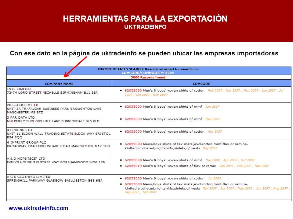 HERRAMIENTAS PARA LA EXPORTACIÓN UKTRADEINFO www.uktradeinfo.com Con ese dato en la página de uktradeinfo se pueden ubicar las empresas importadoras