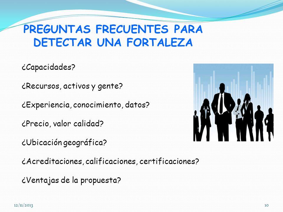 12/11/201310 PREGUNTAS FRECUENTES PARA DETECTAR UNA FORTALEZA ¿Capacidades? ¿Recursos, activos y gente? ¿Experiencia, conocimiento, datos? ¿Precio, va