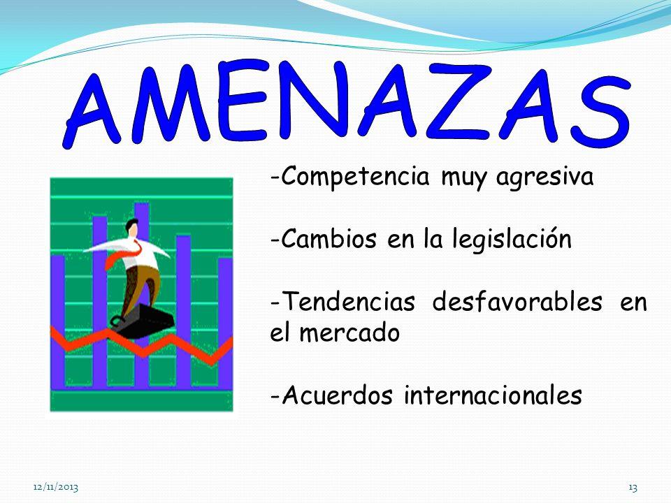 12/11/201313 -Competencia muy agresiva -Cambios en la legislación -Tendencias desfavorables en el mercado -Acuerdos internacionales