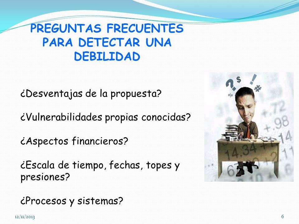 12/11/20136 PREGUNTAS FRECUENTES PARA DETECTAR UNA DEBILIDAD ¿Desventajas de la propuesta? ¿Vulnerabilidades propias conocidas? ¿Aspectos financieros?