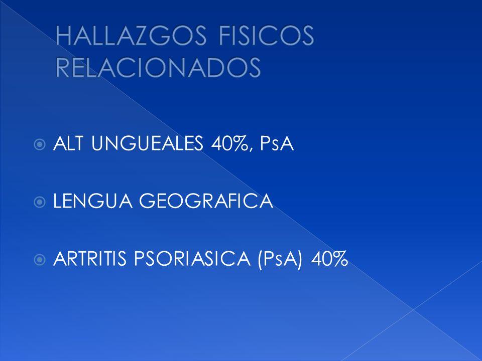 ALT UNGUEALES 40%, PsA LENGUA GEOGRAFICA ARTRITIS PSORIASICA (PsA) 40%