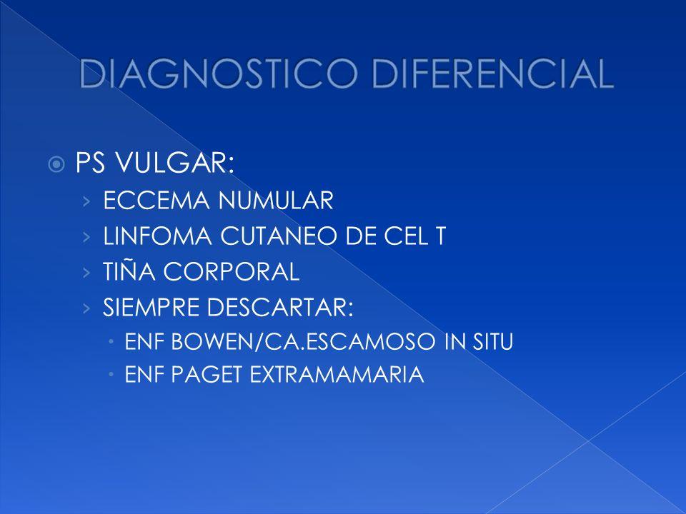 PS VULGAR: ECCEMA NUMULAR LINFOMA CUTANEO DE CEL T TIÑA CORPORAL SIEMPRE DESCARTAR: ENF BOWEN/CA.ESCAMOSO IN SITU ENF PAGET EXTRAMAMARIA
