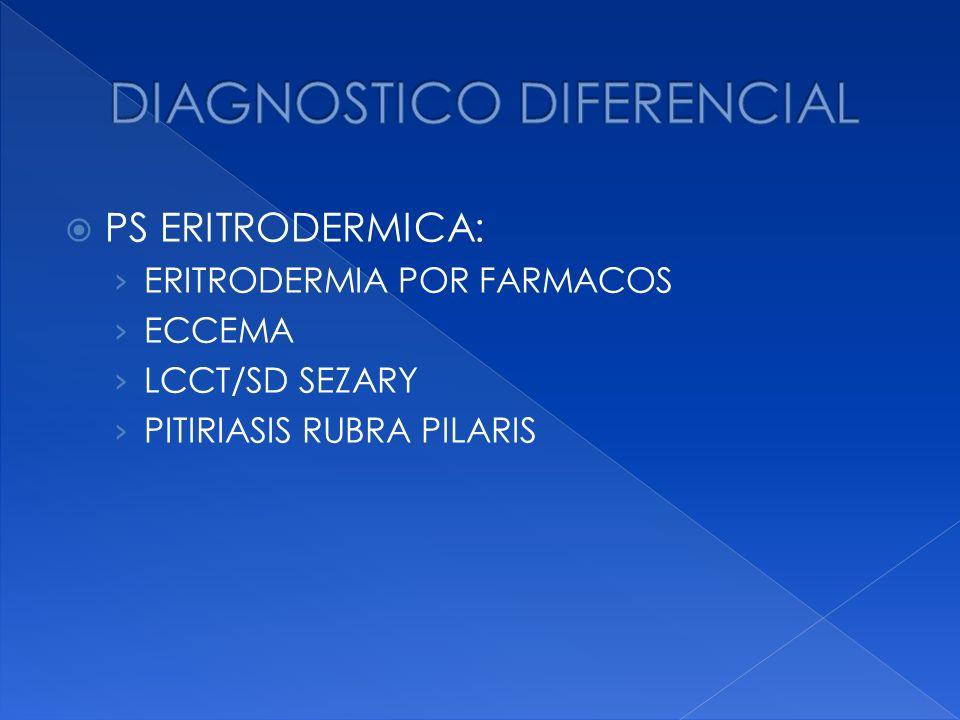 PS ERITRODERMICA: ERITRODERMIA POR FARMACOS ECCEMA LCCT/SD SEZARY PITIRIASIS RUBRA PILARIS